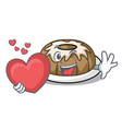 with heart bundt cake mascot cartoon vector image vector image