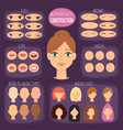 woman character constructor cartoon woman face vector image