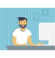 Guy with computer vector image