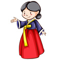A sketch of a girl wearing an Asian costume vector image vector image