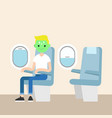 aerophobia concept panic in plane young blond vector image