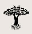 animal tree silhouette vector image vector image