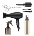 barber shop hairdressing tools for hair stylist vector image