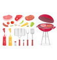 bbq set barbecue equipment and meat icon vector image vector image