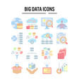 big data icon in flat design for web design vector image vector image