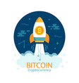 bitcoin growth concept with rocket vector image vector image