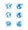 blue icons of global cybersecurity vector image vector image