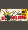 bowling club retro sign board design template vector image