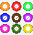 Check mark tik icon sign A set of nine different vector image vector image
