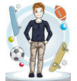child young teen boy cute standing in stylish vector image
