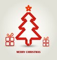 Christmas card with folded paper red Christmas vector image vector image