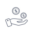coins in hand icon design template line vector image vector image