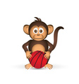cute chimpanzee with basketball ball sport little vector image