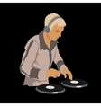 dj wearing headphones and scratching a record vector image