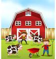 Farmer and barn vector image vector image