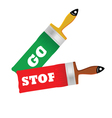 go and stop on the brush for painting vector image