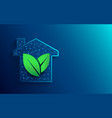 green house icon from lines and particle vector image