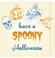 Halloween doodle - pumpkin ghost hat and skull vector image vector image
