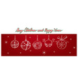 hand drawn of lovely christmas balls hanging on th vector image