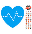 heart pulse icon with lovely bonus vector image vector image