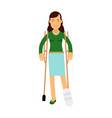 injured young brunette woman with leg in plaster vector image vector image