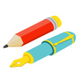 Isometric fountain pen and pencil on white vector image vector image