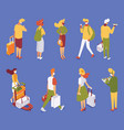 isometric people collection walking standing vector image