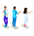 isometrics young people generation z rear view vector image vector image