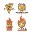 italian pizzeria and pizza delivery promo emblems vector image vector image