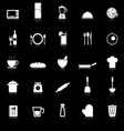 Kitchen icons with reflect on black background vector image