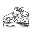 line sweet delicious cake with strawberry fruit vector image