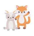 little cute fox and goat cartoon animals isolated vector image vector image