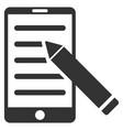 mobile edit pencil flat icon vector image vector image