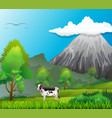 mountain fuji japan and typical calm green vector image