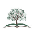 open book with beautiful tree vector image vector image