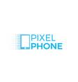 pixel phone logo technology modern logotype vector image