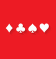 poker card suits - hearts clubs spades and vector image vector image
