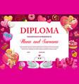 school diploma valentine kindergarten certificate vector image vector image