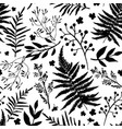 seamless pattern with leaves floral set vector image vector image