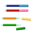 set of color markers fineliner felt-tip pens with vector image vector image