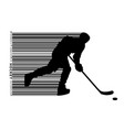silhouette of a hockey player and barcode vector image vector image