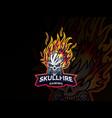 skull fire logo design vector image vector image