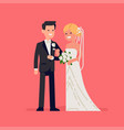white groom and bride couple isolated vector image