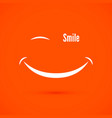 white smile icon on warm orange color background vector image