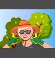 woman gardener in garden vector image