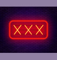 xxx neon sign on a dark background vector image vector image