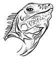 head iguana profile sketch tattoo vector image