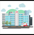 hospital emergency building city background vector image