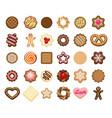 christmas cookies icons vector image
