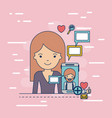 woman half body with multimedia application icons vector image